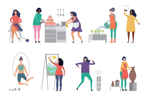 Female hobbies vector. artist, singer, potter woman characters illustrations
