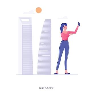 電話カメラを保持している女性は、selfieベクトルを取ります