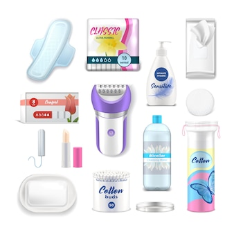 Female hygiene products, woman health care personal daily use