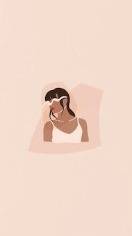 여성 인플루언서 휴대폰 벽지