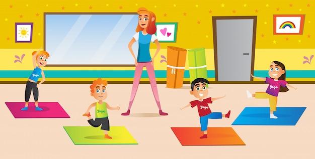 Female instructor teaching children yoga position