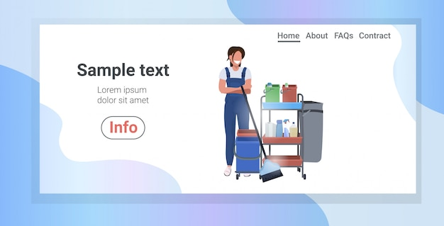 Female janitor pushing trolley cart with supplies smiling woman cleaner in uniform cleaning service concept horizontal full length copy space