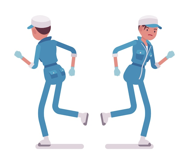 Female janitor running, rear and front view