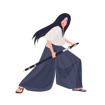 여성 일본 전사 또는 사무라이 소녀