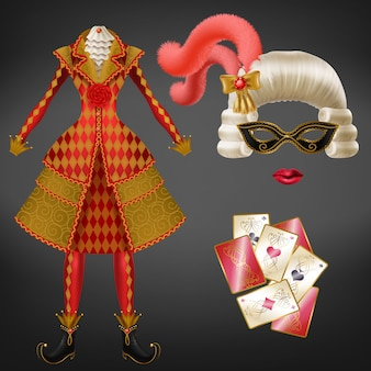 Female joker, harlequin suit, jester costume for carnival, costumed party realistic