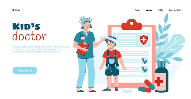 Female kids doctor and a boy patient with injured of head a vector illustration