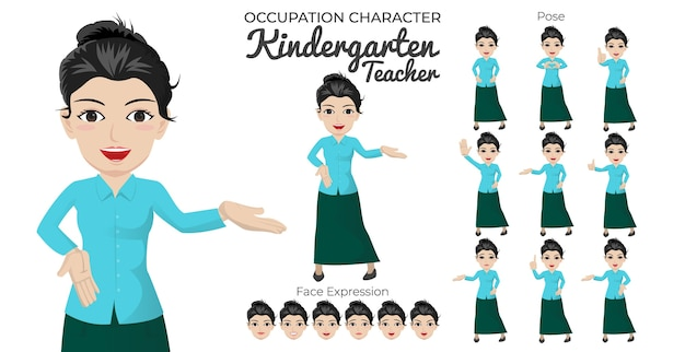 Female kindergarten teacher character set with variety of pose and face expression