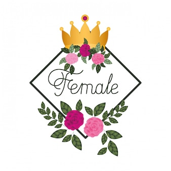 Female label with roses frame icons