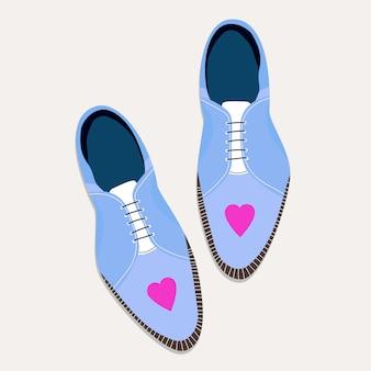 Женская шнуровка деловая обувь. модные туфли с сердцем. современная рисованная иллюстрация женской обуви. вид сверху вниз. концепция модной одежды.