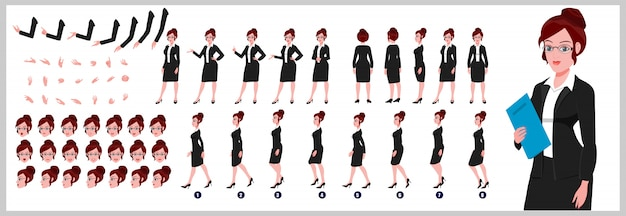 Female lawyer character model sheet with walk cycle animations and lip syncing