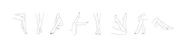 여성 다리 컬렉션입니다. 손으로 그린 선형 여자 발