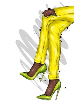 바지와 세련된 신발에 여성 다리