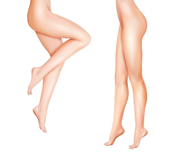 Женские ноги реалистичные иллюстрации Бесплатные векторы