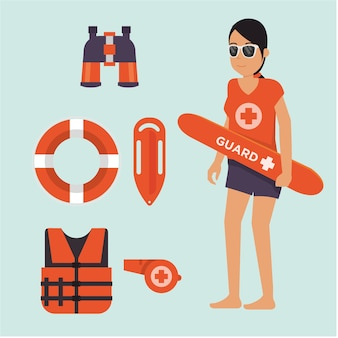 女性のライフガードは、ビーチで状況を見て立って