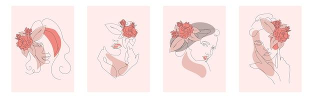 Набор женских линейных художественных портретов. логотипы для салонов красоты, абстрактные векторные портреты женщин.