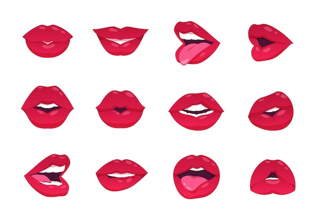 Female lips. cartoon sexy woman smile, open closed and smiley mouth, red lips isolated on white. vector mouth kiss gesture and makeup, smiling image lip girl