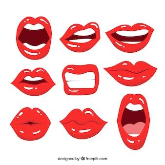 2dスタイルの女性の唇のコレクション