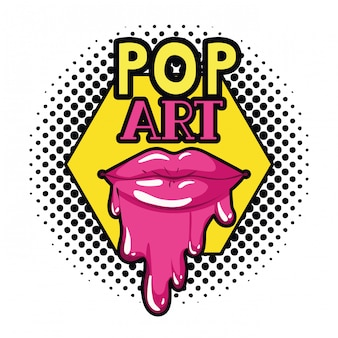 Female lips dripping isolated icon