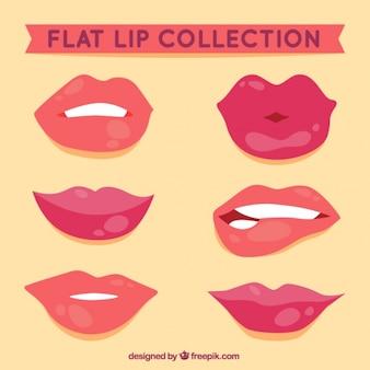 フラットスタイルで女性の唇