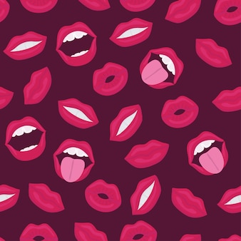 Female lips. mouth with a kiss, smile, tongue, teeth and kiss me lettering on background.  comic seamless pattern in pop art retro style. abstract seamless pattern for girls, boys, clothes.