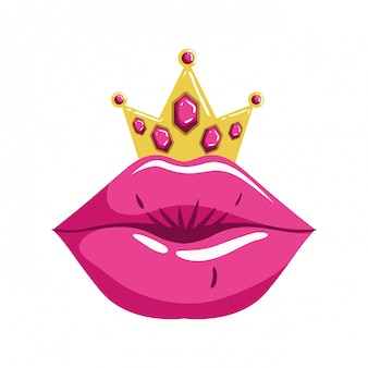 Female lips pop art style isolated icon
