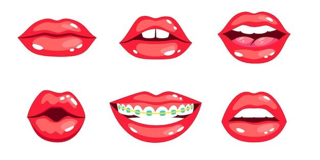 女性の唇セット。赤い口紅と漫画の美しいキス、歯と笑顔の官能的なロマンス、白い背景で隔離の女性のセクシーな魅力的な唇のベクトルイラスト