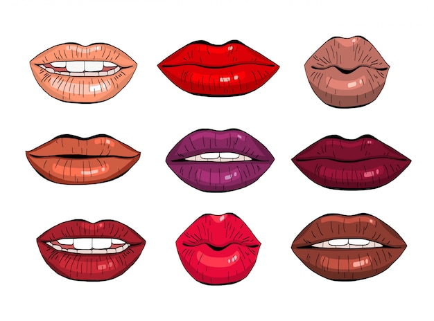Female lips set.