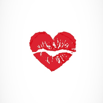 Female lips in shape of heart