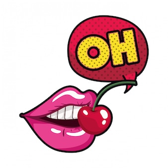 Female lips with speech bubble isolated icon