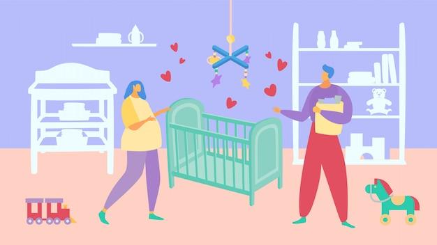 여성 남성 캐릭터 사람 가족, 임신 아내 남편 서 아기 침대 그림. 개념 젊은이들이 재현합니다.