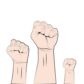 Female male and children fist up. struggle for rights and freedoms.