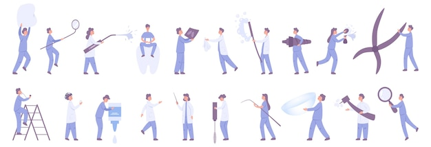 Female and male dentit and ophthalmologist set. doctor in hospital uniform holding medical tool. medicine and healthcare .