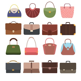 Female and male handbags.