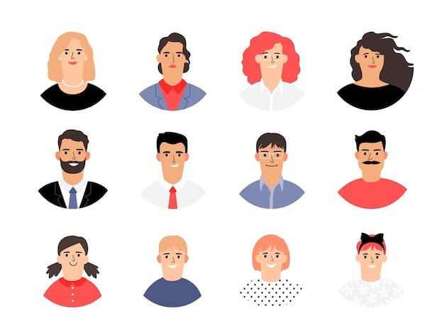 Female male and kids avatars.