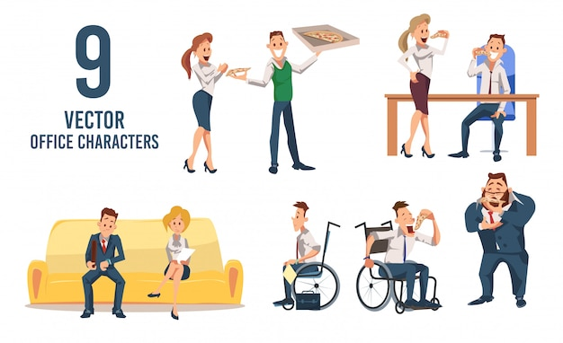Female, male office workers vector characters set