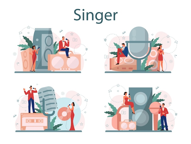 Female and male singer concept set. performer singing with microphone. music show, sound performance.