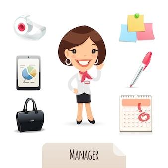 Female manager icons set
