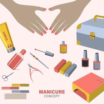 Female manicured hands. set with nail scissors, polish, cream. concept for nail studio, salon.