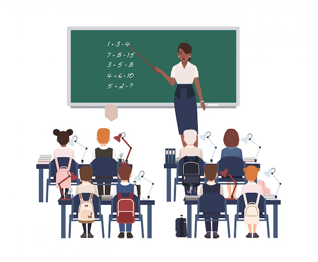 Female math teacher explaining summation to elementary school kids or pupils.