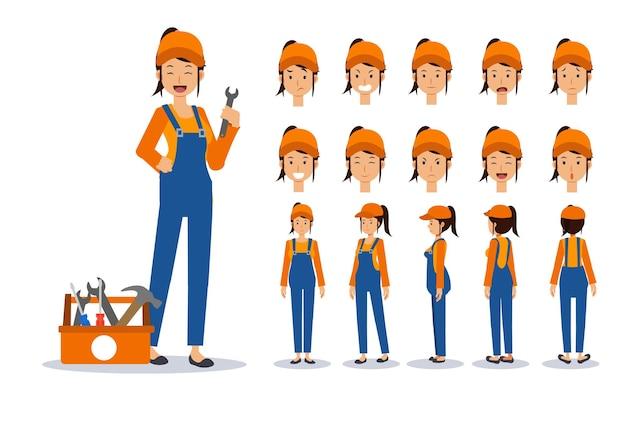여성 정비사, 다양한 보기, 만화 스타일의 수리공. 평면 벡터 문자 그림