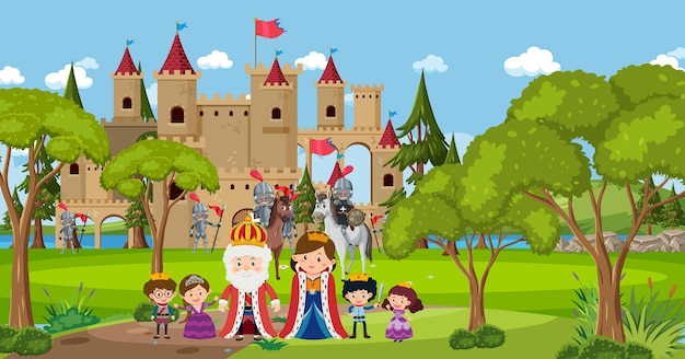 Female medieval historical cartoon characters