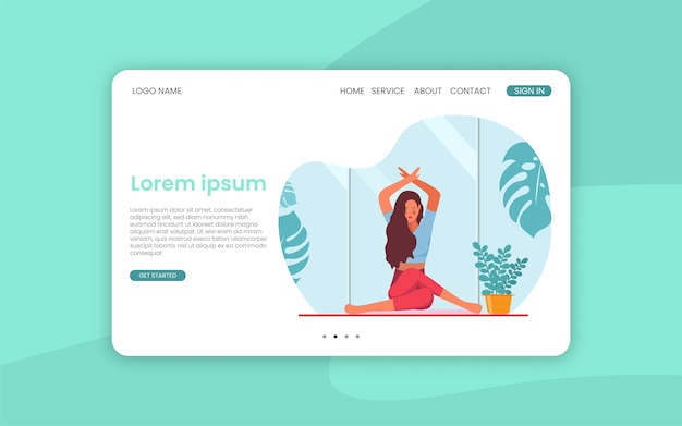 Female meditation landing page template.