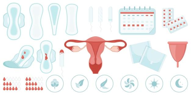 Элементы женского менструального цикла, плоский набор иконок. прокладки, тампоны, менструальная чаша, календарь месячных, таблетки, матка и другие предметы женской гигиены. женский менструальный цикл. векторная иллюстрация