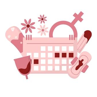 女性の月経期間と衛生製品のタンポン生理用ナプキンと月経カップを持つ女性