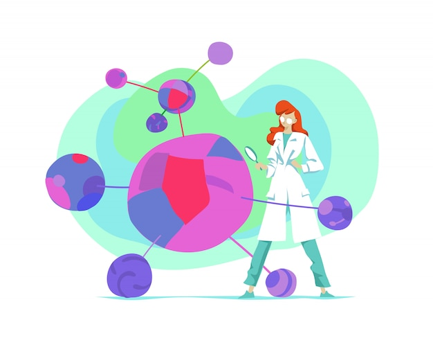 Female microbiology scientist looks at a new virus cells through a magnifying glass