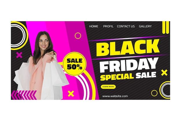 Pagina di destinazione del venerdì nero modello femminile