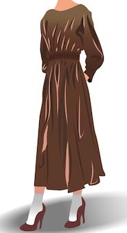 Женская модель, одетая в коричневое платье на высоких каблуках и белых носках позирует
