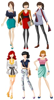 Female models wearing fashionable clothes