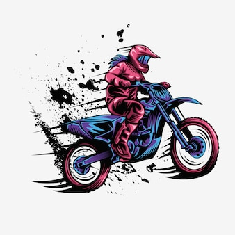 Female motocross splash speed vector illustration