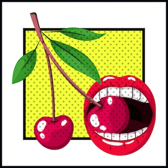 Female mouth bite cherry pop art style